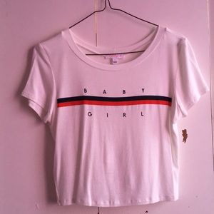 White baby girl crop top